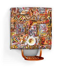 """Скатерть квадратная """"Оранжевый дом."""" - арт, узор, абстракция, фигуры, текстура"""