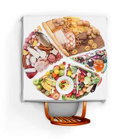 """Скатерть квадратная """"Все для всех"""" - еда, фрукты, рыба, колбаса"""