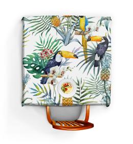 """Скатерть квадратная """"Пеликан и ананасы"""" - красиво, птицы, природа, ананас, пеликан"""