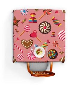 """Скатерть квадратная """"Сладости"""" - конфеты, сладости, шоколад, леденцы"""