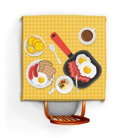 """Скатерть квадратная """"Кухонная"""" - рисунок, завтрак, обед, продукты, ужин"""