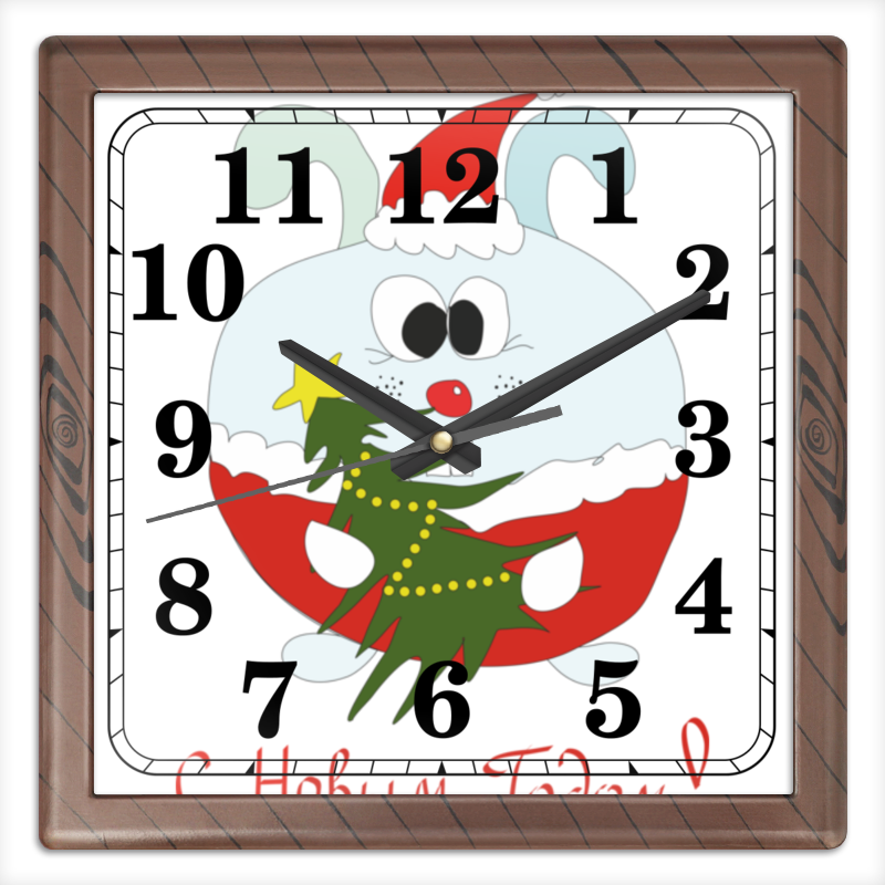 Часы квадратные из пластика (под дерево) Printio Новогодний заяц te gusto варенье из лепестков роз 430 г