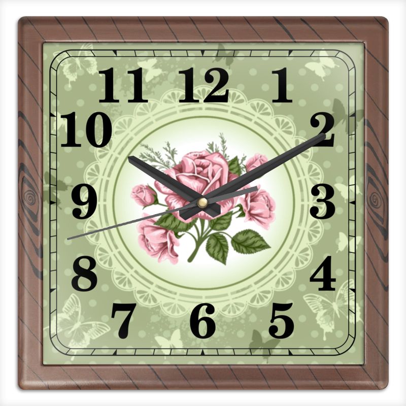 Часы квадратные из пластика (под дерево) Printio Цветы часы квадратные из пластика под дерево printio снежные цветы