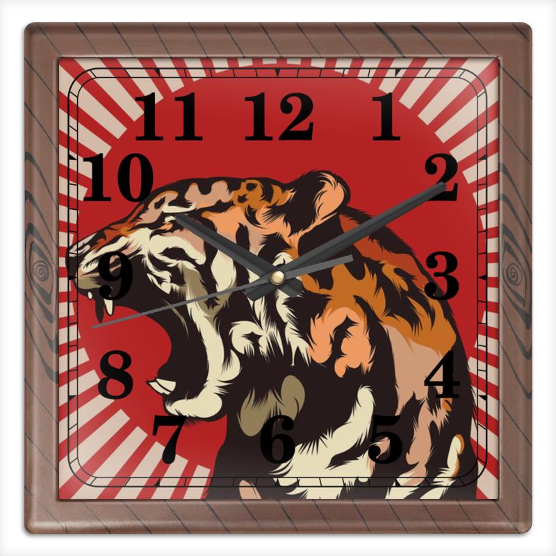Часы квадратные из пластика (под дерево) Printio Тигр арт часы квадратные из пластика под дерево printio fluxx