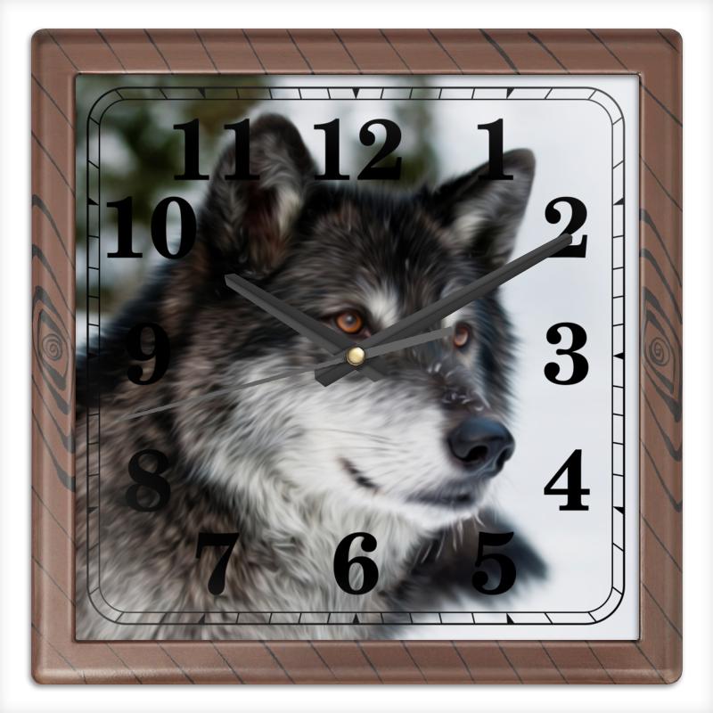 Часы квадратные из пластика (под дерево) Printio Серый волк часы круглые из пластика printio серый волк
