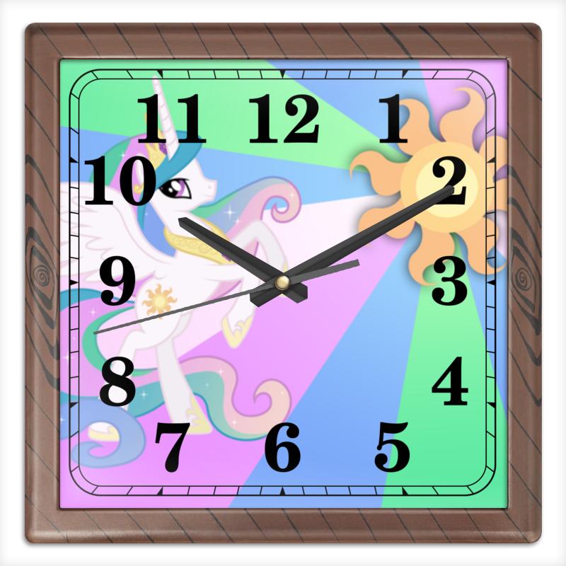 Часы квадратные из пластика (под дерево) Printio Princess celestia color line часы круглые из дерева printio princess celestia color line