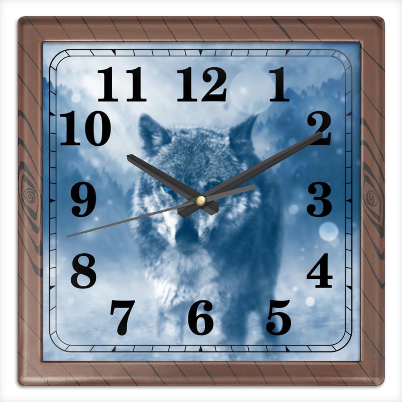 Часы квадратные из пластика (под дерево) Printio Волк с голубыми глазами часы круглые из пластика printio серый волк