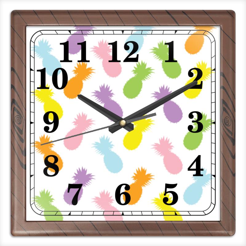 Часы квадратные из пластика (под дерево) Printio Ананасы! часы квадратные из пластика под дерево printio россия