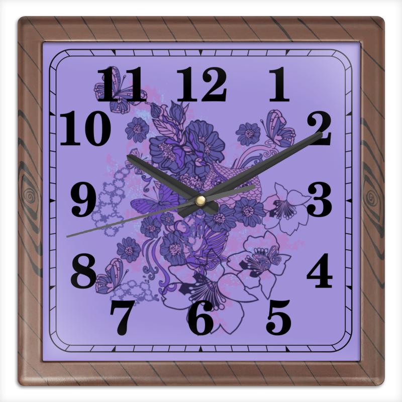 Часы квадратные из пластика (под дерево) Printio Сова в цветах чехол для ноутбука 12 printio сова в цветах