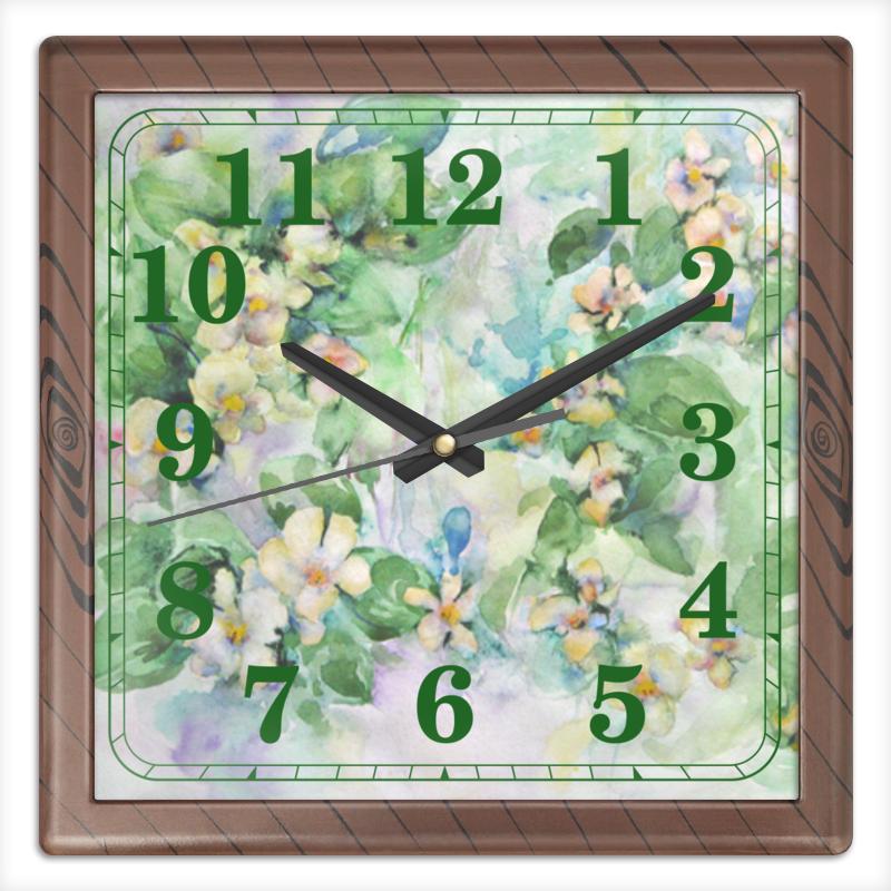 Часы квадратные из пластика (под дерево) Printio Жасмин часы квадратные из пластика под дерево printio полевые цветы