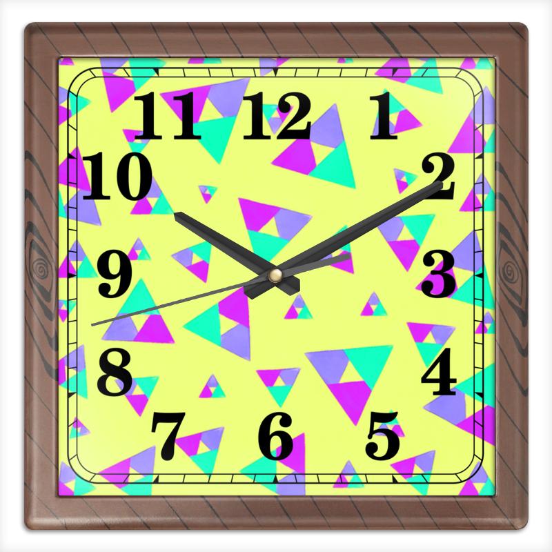 цена на Часы квадратные из пластика (под дерево) Printio Треугольник 1