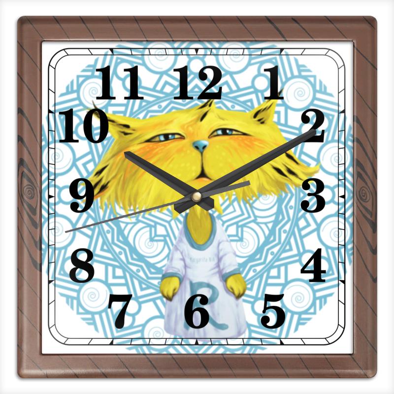 Часы квадратные из пластика (под дерево) Printio Рысёнок таранка каждый день 40г