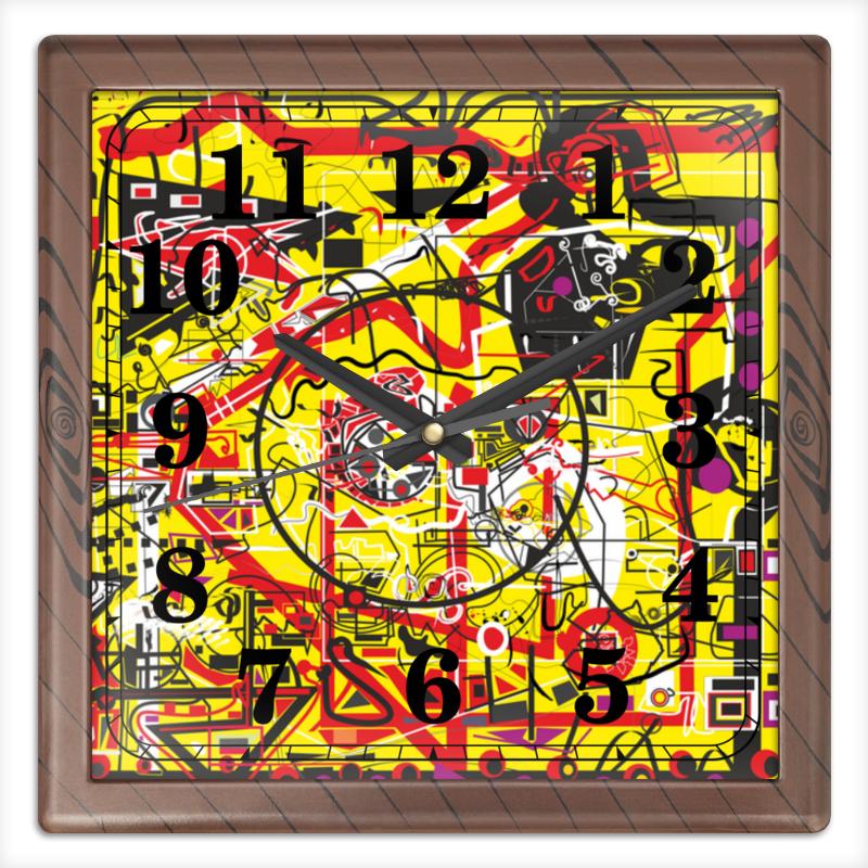 Часы квадратные из пластика (под дерево) Printio Паутинка часы круглые из пластика printio паутинка