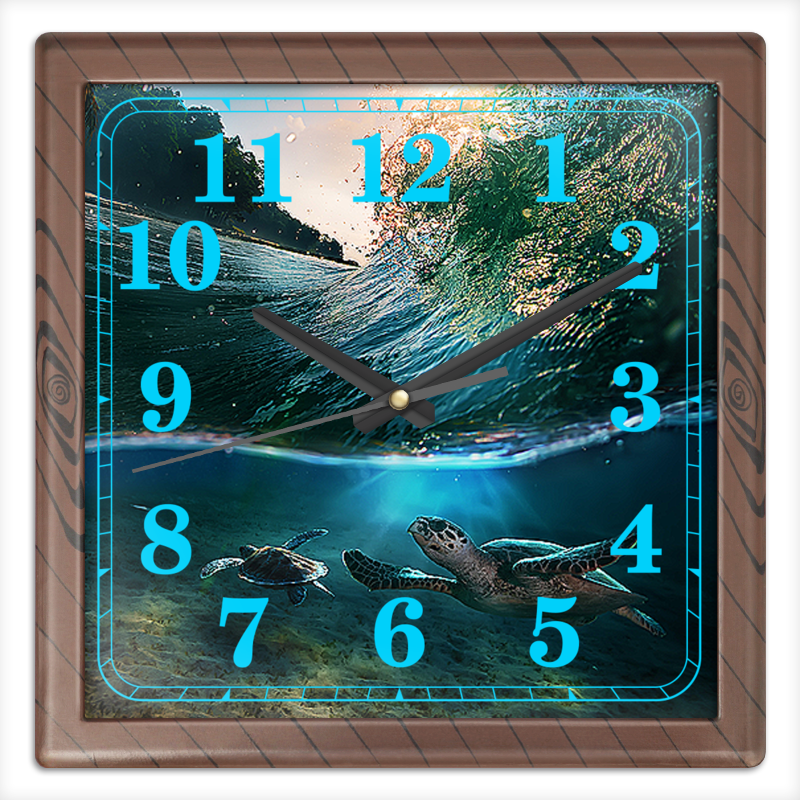 Часы квадратные из пластика (под дерево) Printio Морские часы квадратные из пластика под дерево printio элвис пресли