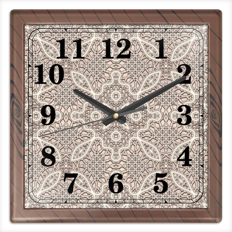Часы квадратные из пластика (под дерево) Printio Ажурные