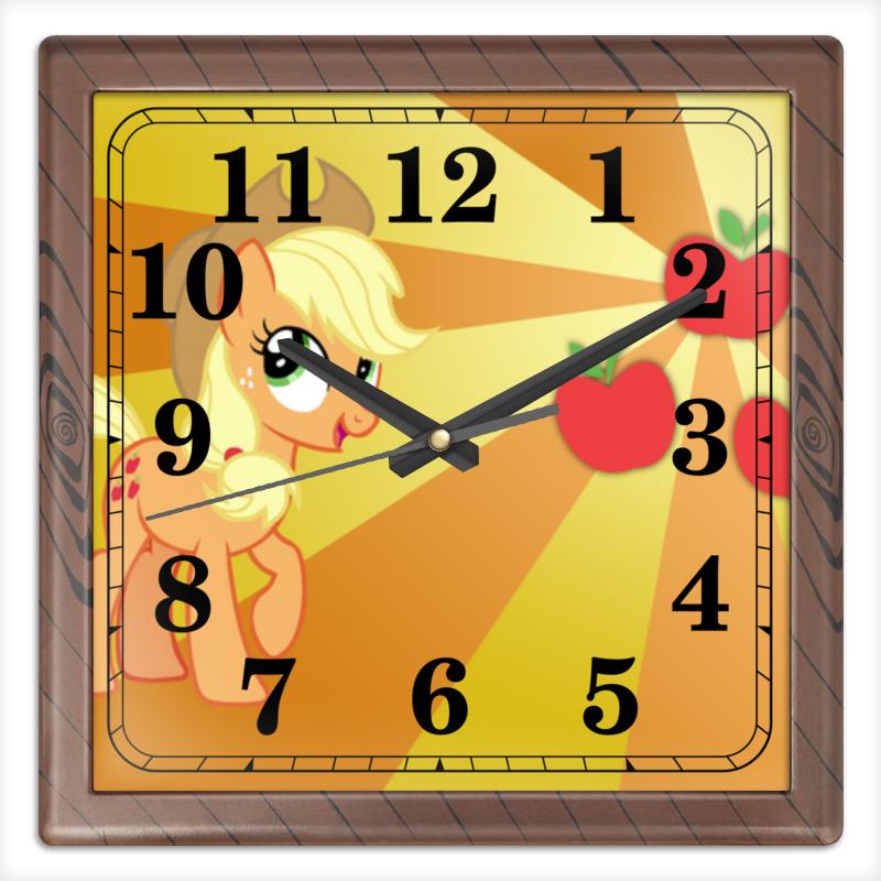 Часы квадратные из пластика (под дерево) Printio Applejack color line