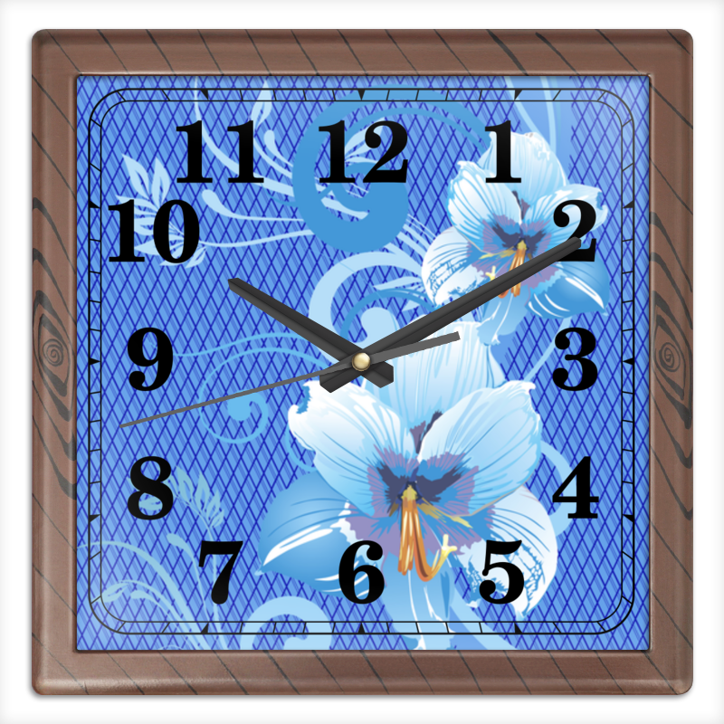 Часы квадратные из пластика (под дерево) Printio Лилии