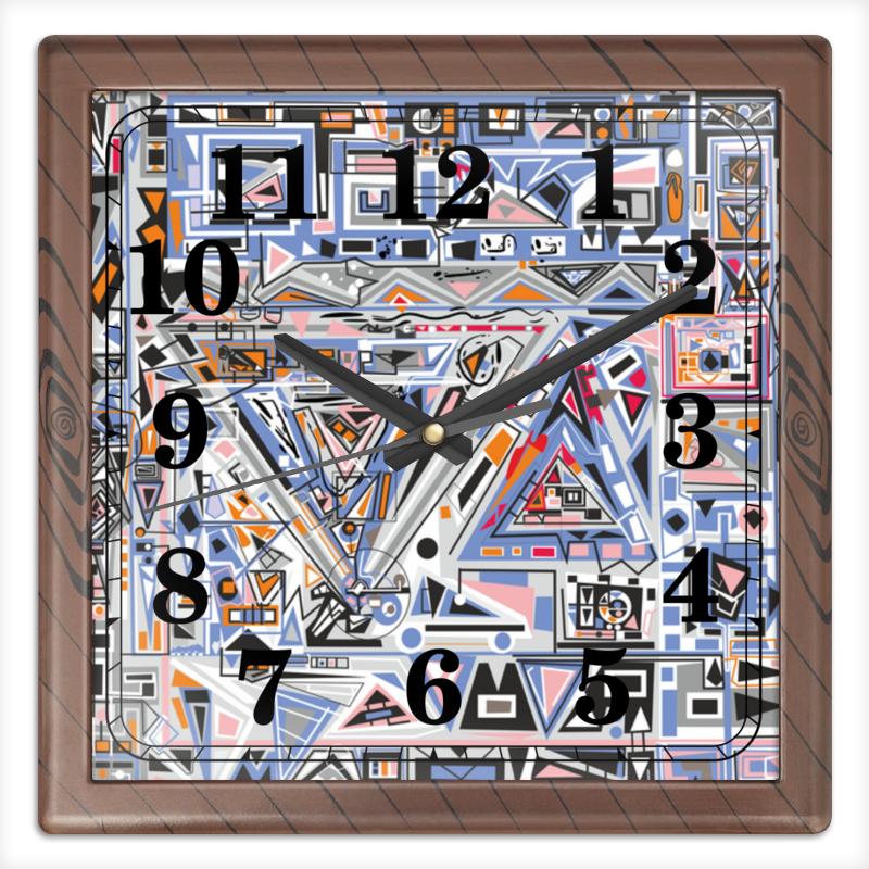 Часы квадратные из пластика (под дерево) Printio Ташизм часы квадратные из пластика под дерево printio michael jackson