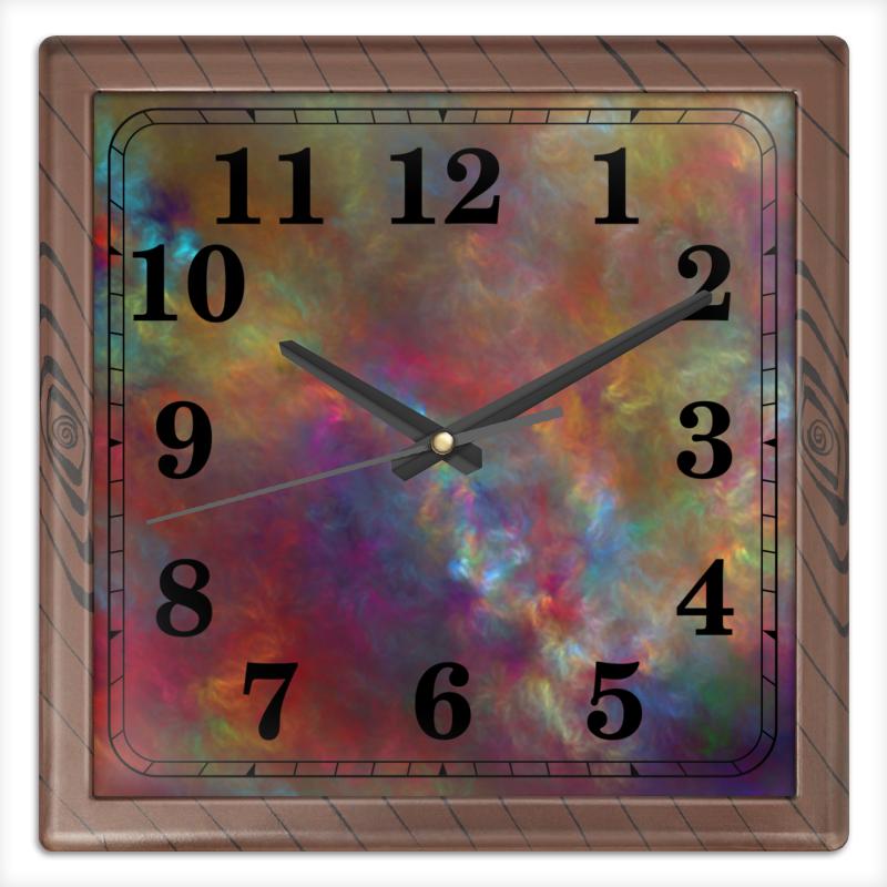 Часы квадратные из пластика (под дерево) Printio Абстрактный дизайн часы квадратные из пластика под дерево printio россия