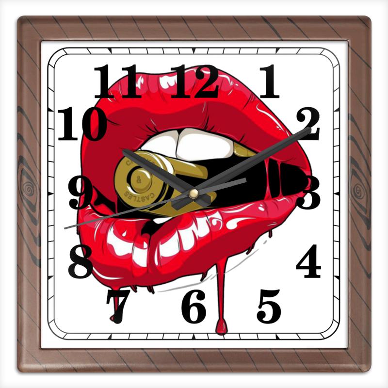 Часы квадратные из пластика (под дерево) Printio Пуля во рту блокнот printio пуля во рту