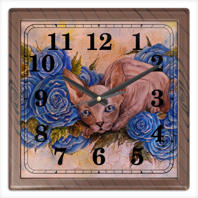 где купить Часы квадратные из пластика (под дерево) Printio Сфинкс и синие розы дешево