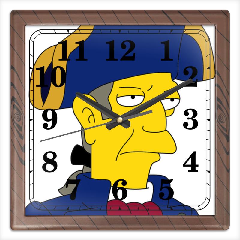 Часы квадратные из пластика (под дерево) Printio Сеймур