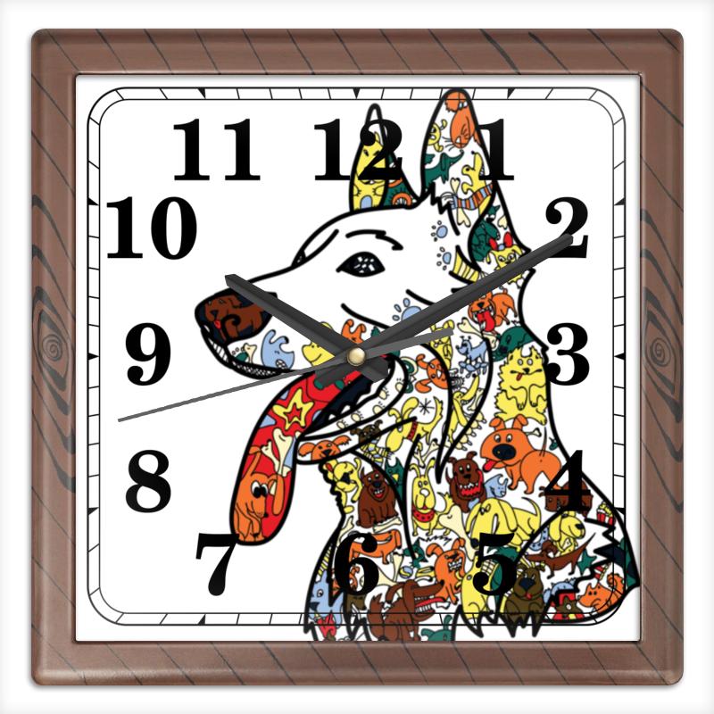 Часы квадратные из пластика (под дерево) Printio Забавные собаки часы квадратные из пластика под дерево printio олень