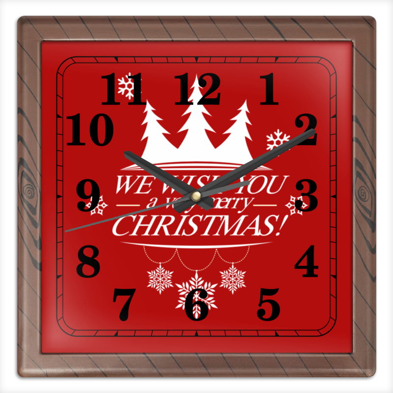 Часы квадратные из пластика (под дерево) Printio Merry x-mas часы круглые из дерева printio merry x mas