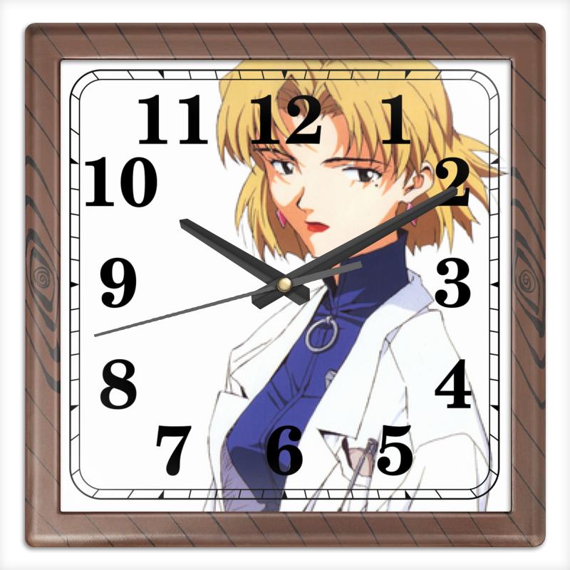 Часы квадратные из пластика (под дерево) Printio Рицуко акаги