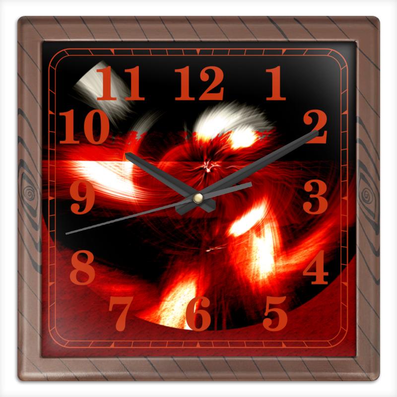 Часы квадратные из пластика (под дерево) Printio Абстракция в красном круге