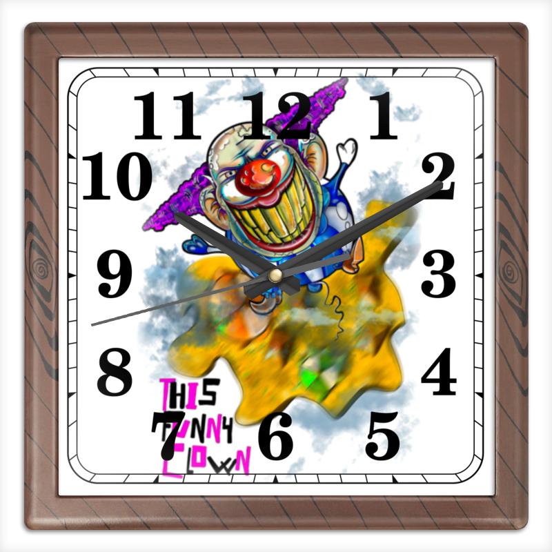 Часы квадратные из пластика (под дерево) Printio Смешной клоун часы квадратные из пластика под дерево printio отряд самоубийц
