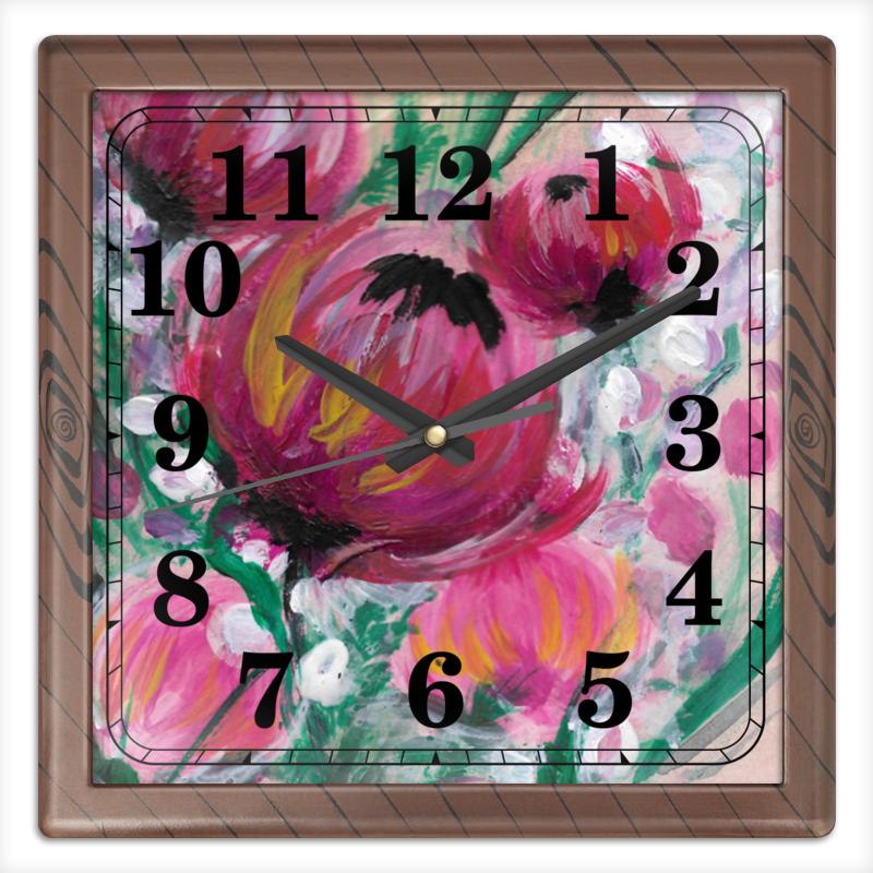 Часы квадратные из пластика (под дерево) Printio Полевые цветы часы квадратные из пластика под дерево printio снежные цветы