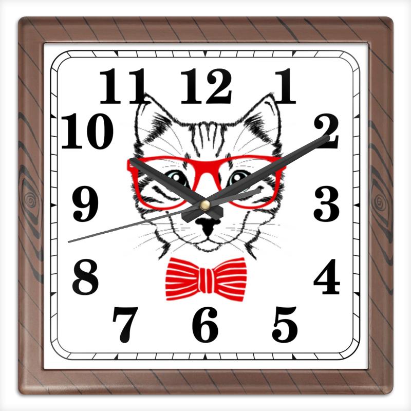 Часы квадратные из пластика (под дерево) Printio Кошка цена