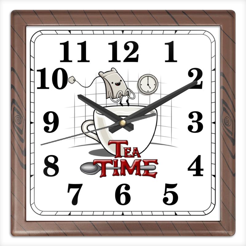 Часы квадратные из пластика (под дерево) Printio Время чая часы квадратные из пластика под дерево printio море корги