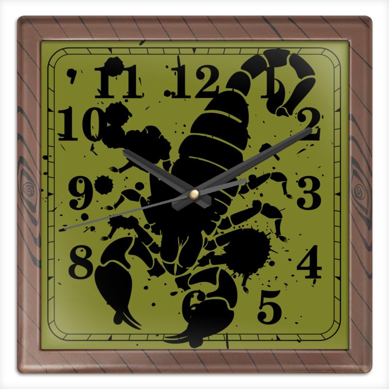 Часы квадратные из пластика (под дерево) Printio Скорпион (24.10-21.11)