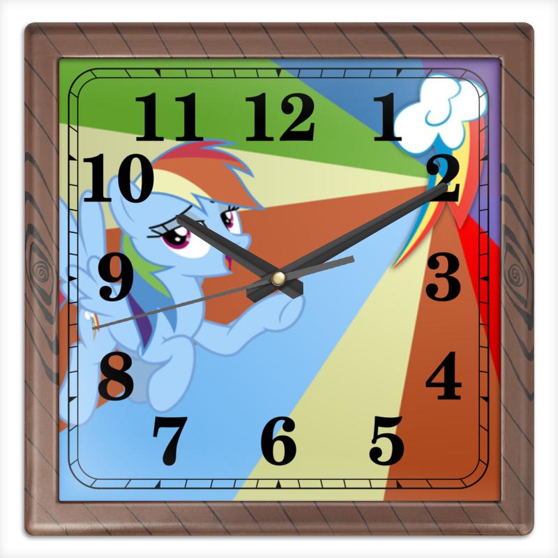 Часы квадратные из пластика (под дерево) Printio Rainbow dash color line