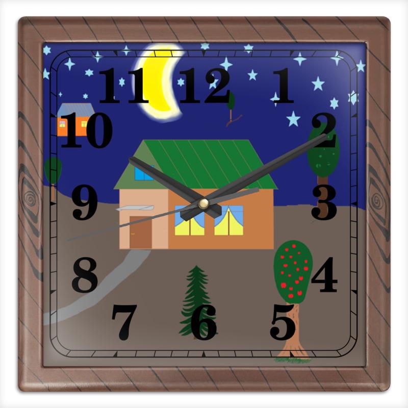 Фото - Printio Рисунок вечер в деревне часы квадратные из пластика под дерево printio helicologie