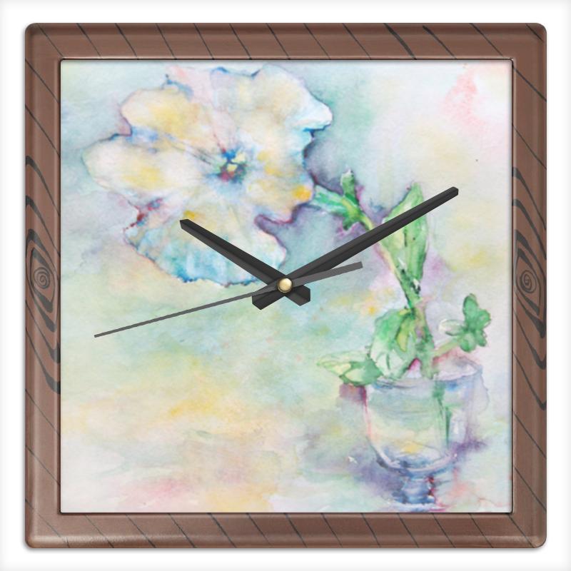 Часы квадратные из пластика (под дерево) Printio Белая мальва часы квадратные из пластика под дерево printio полевые цветы