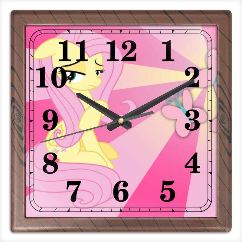 Часы квадратные из пластика (под дерево) Printio Fluttershy color line