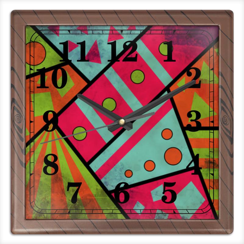 Часы квадратные из пластика (под дерево) Printio Яркая геометрия часы квадратные из пластика под дерево printio россия