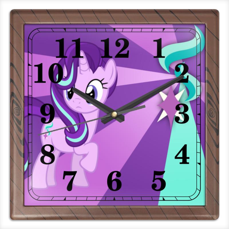 Часы квадратные из пластика (под дерево) Printio Starlight glimmer color live