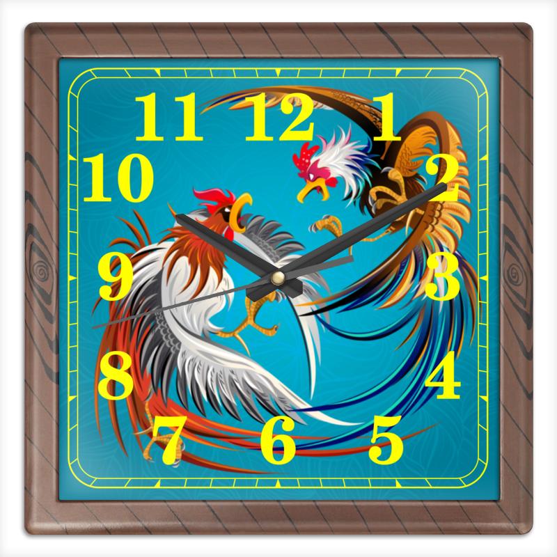 Часы квадратные из пластика (под дерево) Printio Новый год 2017 часы квадратные из пластика под дерево printio живописные краски