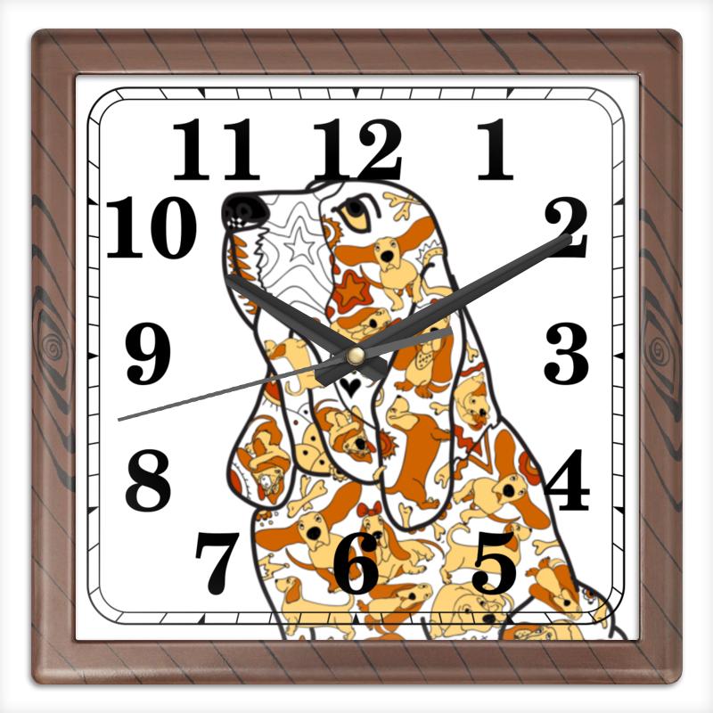 Часы квадратные из пластика (под дерево) Printio Смешная собака бассет часы квадратные из пластика под дерево printio россия