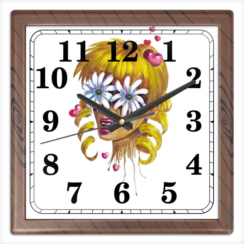 Часы квадратные из пластика (под дерево) Printio Без ума от цветов