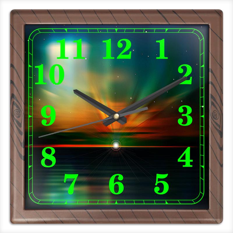 Фото - Printio Северное сияние часы квадратные из пластика под дерево printio helicologie