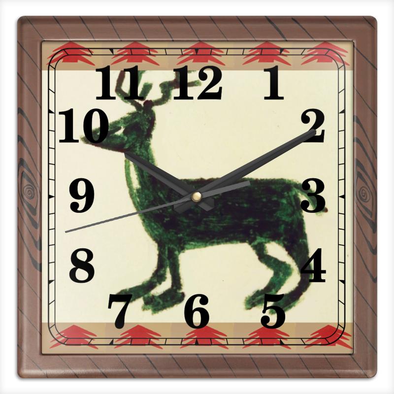 Часы квадратные из пластика (под дерево) Printio Олень часы круглые из пластика printio олень