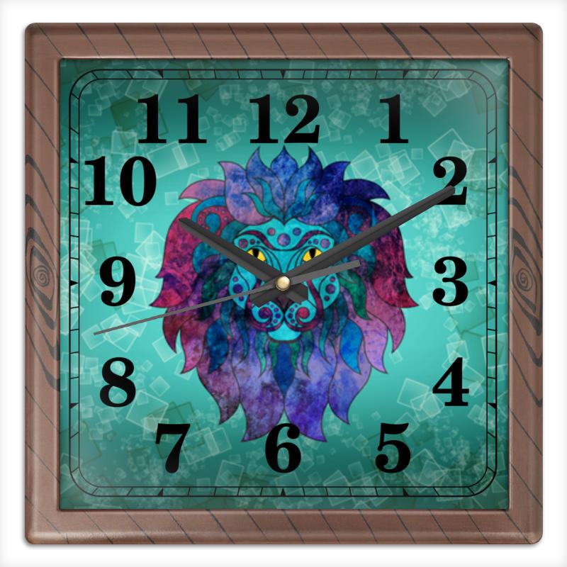 Часы квадратные из пластика (под дерево) Printio Яркий лев часы квадратные из пластика под дерево printio россия