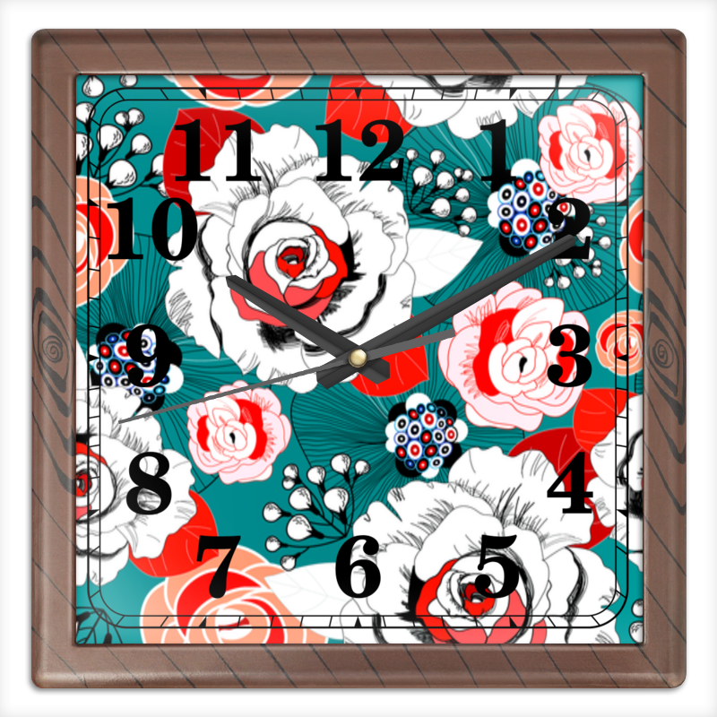Часы квадратные из пластика (под дерево) Printio Fashion flower часы квадратные из пластика под дерево printio отряд самоубийц