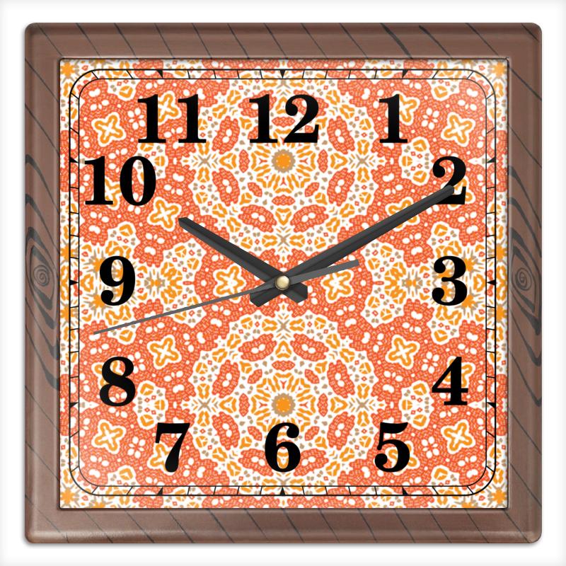 Часы квадратные из пластика (под дерево) Printio Sunny
