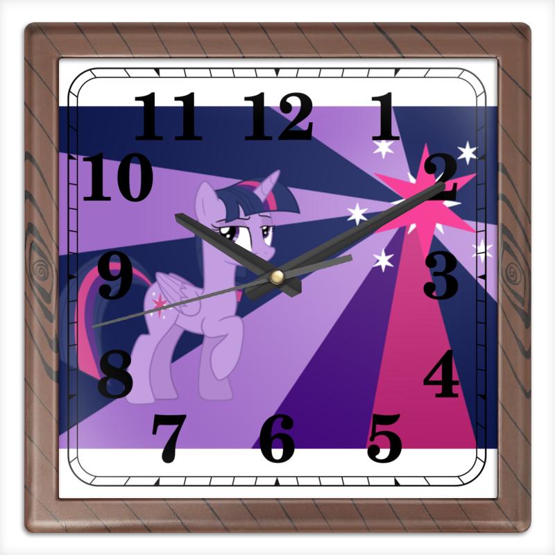 Часы квадратные из пластика (под дерево) Printio Twilight sparkle color line